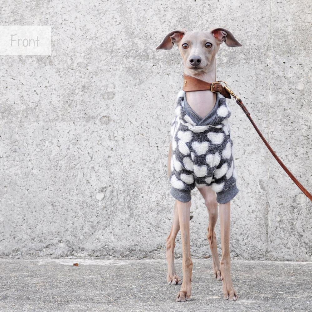 犬服|たくさんの愛に包まれて|イタリア製ハートニット|選べる3カラー(純白/空色/鴇色)