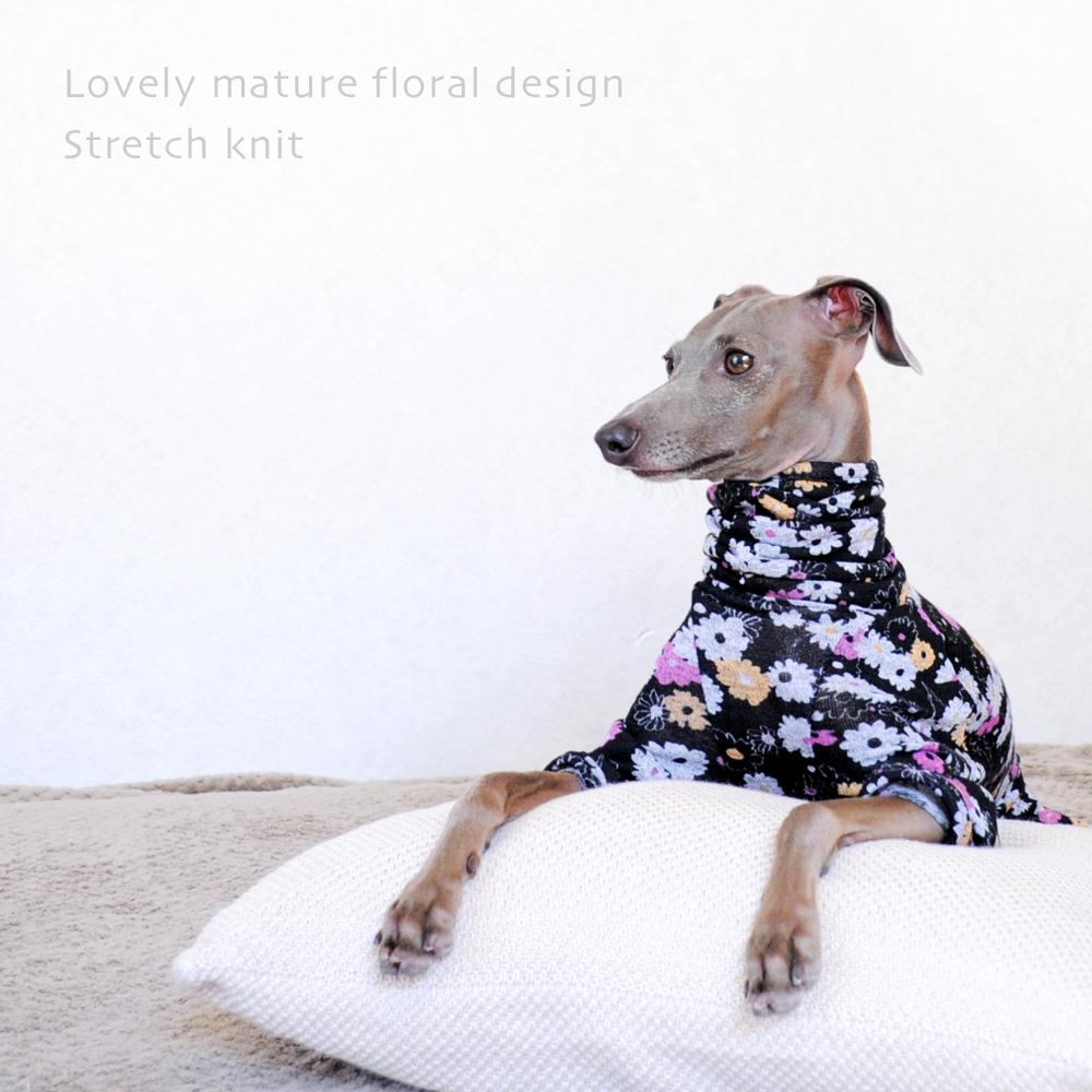 犬服|オトナかわいい花柄ストレッチニット|選べる3タイプ×3カラー(イエロー&ブルー/グリーン&パープル/ピンク&オレンジ)