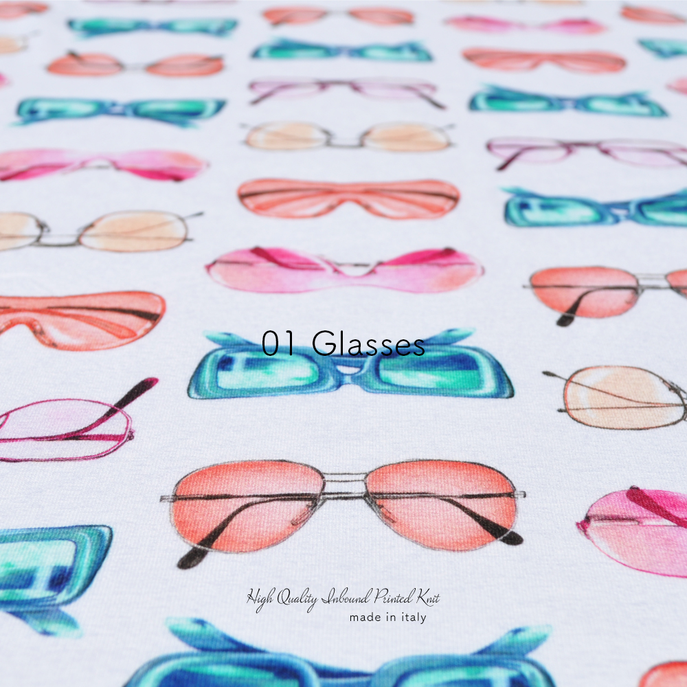 犬服|上質なイタリア製舶来プリントニット|選べる4タイプ×3カラー(Glasses/Bags/Ribbons)
