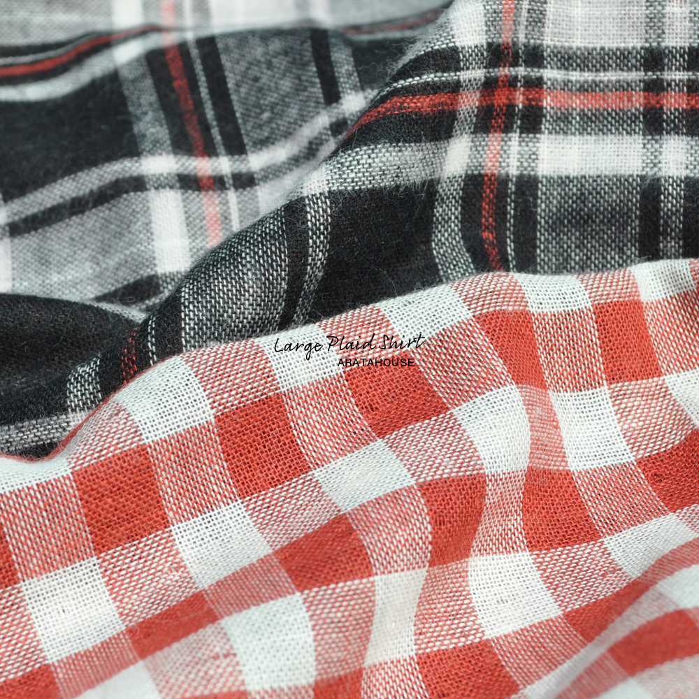 犬服|ラージチェックシャツ|日本製コットンダブルガーゼ|選べる3タイプ×2カラー(ブラウン×オレンジ/ブラック×レッド)