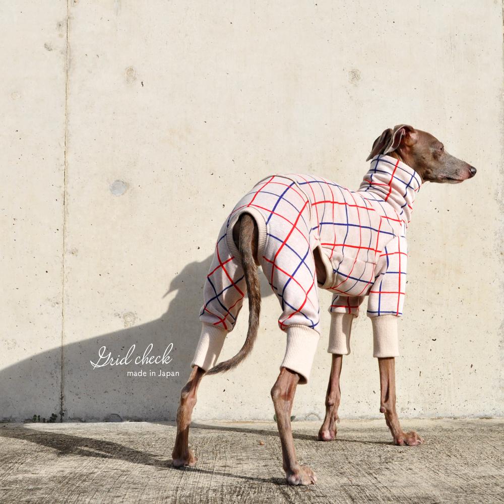 犬服|3cm×3cmグリッドチェック|日本製ジャガードニット|選べる4タイプ×2カラー(アイボリー/レッド)