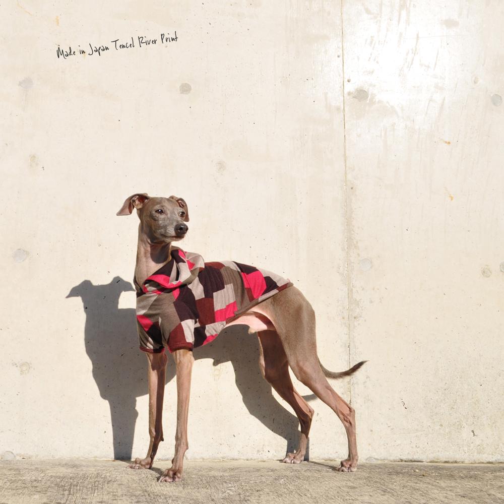 犬服|日本製テンセルリバープリント|選べる4タイプ×3カラー(パープル&ブラウン/ブルー&グリーン/レッド&ブラック)