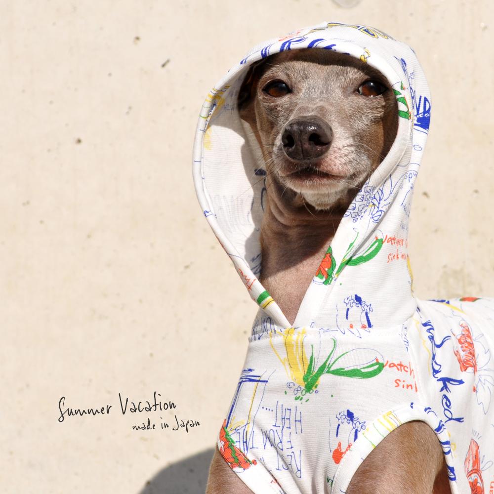 犬服|Summer Vacation|上質な日本製強撚天竺ニットプリント|選べる4タイプ×2カラー(ブルー文字/ブラック文字)